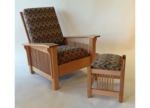 Spindle Arm Morris Chair & Footstool